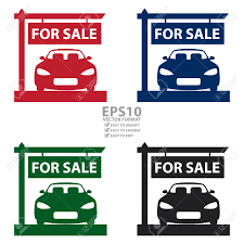 car for sale vector car showroom with car for sale sign icon sticker or