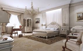 classic bedroom design with white set bed equipped cabinet