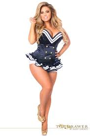 Plus Size Costumes Top Drawer Plus Size Navy Blue Sailor Overbust Steel Boned Corset