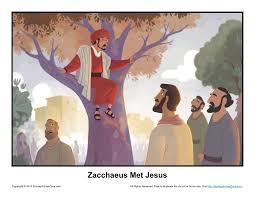 zacchaeus met jesus story illustration