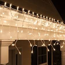 Outdoor Icicle Lights 9 Ft 150 Clear Icicle Lights White Wire Indoor