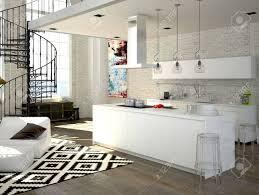 Wohnzimmer Modern Loft Moderne Loft Mit Küche Und Wohnzimmer 3d Rendering Lizenzfreie