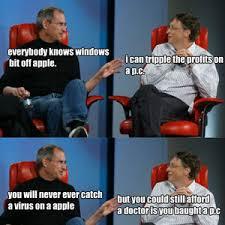 Bill Gates Steve Jobs Meme - steve jobs vs bill gates by midnighthowlers meme center