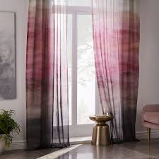 Dusty Curtains Sheer Cotton Painted Ombre Curtains Set Of 2 Dusty Blush