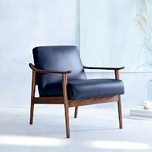 Blue Suede Chair Living Room Chairs West Elm