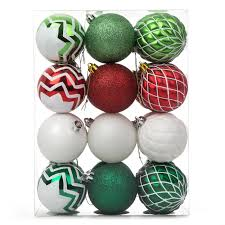 balls ornaments 24 set shatterproof glitter swirl color