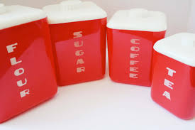 Kitchen Canisters Ceramic Square Red And White Ceramic Modern Kitchen Canister Set For