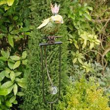 balancing green birds on perch metal garden lawn animals ornaments