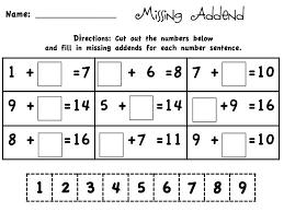 missing number addition worksheets worksheets