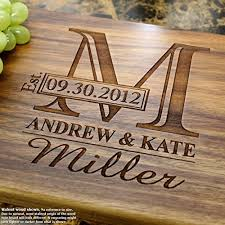 personalized kitchen items monogram personalized engraved cutting board wedding