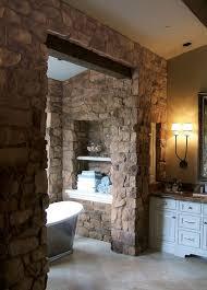bathroom bathtub partition wall ceramic floor natural stone wall