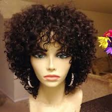 are there any full wigs made from human kinky hair that is styled in a two strand twist for black woman short afro curly wigs for black women human hair no lace machine