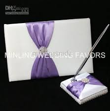 purple guest book minling wedding favors purple guest book sign pen and holder