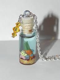 sponge bob square pants in a bottle necklace pinea by secretvixen
