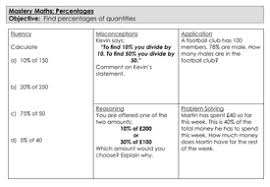 mastery maths percentages find percentages of quantities by