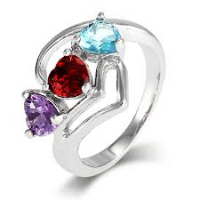 grandmother rings custom hearts birthstone ring with modern silver design s