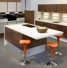 White Corian Furniture Appealing White Corian Countertop With Orange Stools