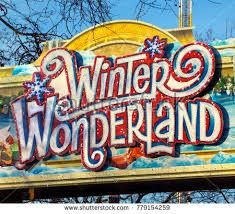 winter entrance sign stock photo