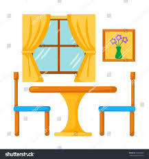 vector dinner table chairs dining room stock vector 398628883
