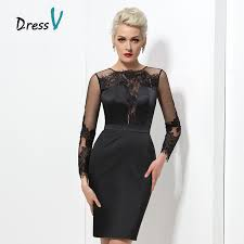 Black Homecoming Dresses With Sleeves Online Get Cheap Short Long Sleeve Lace Black Prom Dress For Plus