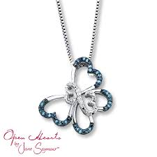 kay jewelers charmed memories kay open hearts butterfly blue diamonds sterling silver necklace