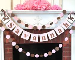 Pink And Brown Baby Shower Decorations Buck Or Doe Garland Woodland Themed Baby Shower Decorations