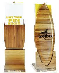 Bamboo Table Top by Landshark Brewery Menu Display Stands Impact Menus