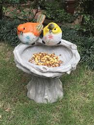 Birds Home Decor Wonderland Bird Feeder With Two Birds U0026 Stand Bird Bath Home