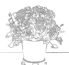 rose bouquet coloring pages for flower coloring pages of