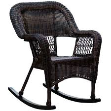 dark brown wicker outdoor patio rocking chair at home at home