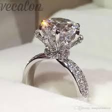 womens diamond rings vecalon fashion jewelry engagement wedding band ring for women 3ct