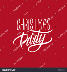 christmas party calligraphic lettering design card stock vector