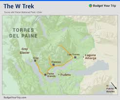 Patagonia Map Map The W Trek Map The W Trek Of Torres Del Paine National