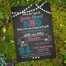 chalkboard gender reveal bbq party invitation by sunshineparties