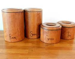 wooden kitchen canister sets wood canister set etsy