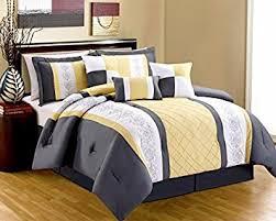 Grey And Yellow Comforters 8 Piece Yellow White Grey Embroidered Miranda Comforter Set