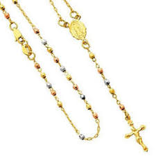gold rosary 14k tri color gold rosary guadalupe medal and cross necklace