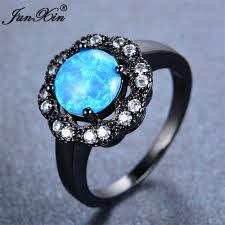 real blue opal black fire opal engagement ring junxin new blue fire opal ring