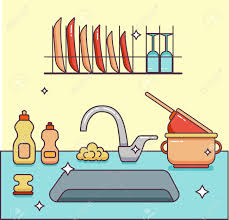 illustration cuisine kitchen sink with kitchenware dishes utensil towel wash sponge