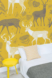 Wall Mural Sunrise In A Forest Wall Paper Self Adhesive White Deer Wallpaper Wall Mural Yellow Background Pattern