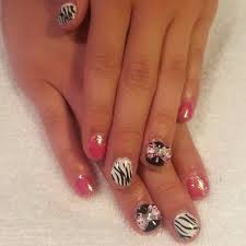 led polish manicure glitz striping and animal print 3d bows for