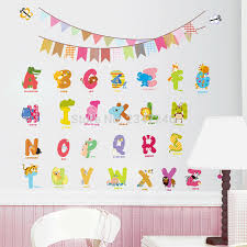 home decor kids animal letters wall decals cartoon alphabet removable home decor