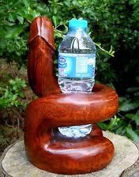 wooden carving figure bottle holder shape 25 cm home décor