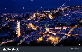 The Blue City Morocco by Panorama Blue Medina Chefchaouen City Night Stock Photo 184852919