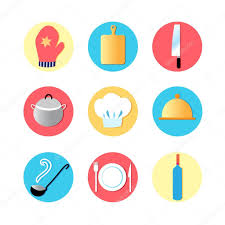 kitchen utensils and kitchen flat icons u2014 stock vector tanor