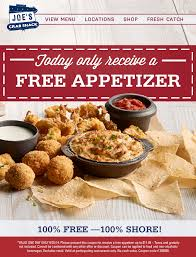 pinned june 25th 12 appetizer free today at joes crab shack