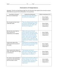 Declaration Of Independence Worksheet Answers Matrix Of Excerpts From The Declaration Of Independence Directions