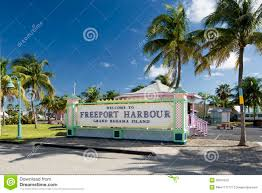 welcome to freeport harbour grand bahama island stock photo
