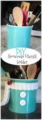 diy snowman utensil holder christmas projects kitchens and