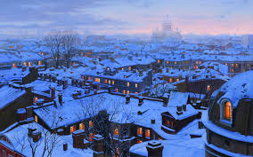 Winter Houses by Eugeny Lushpin St Petersburg Roofs Evening Houses Roofs St